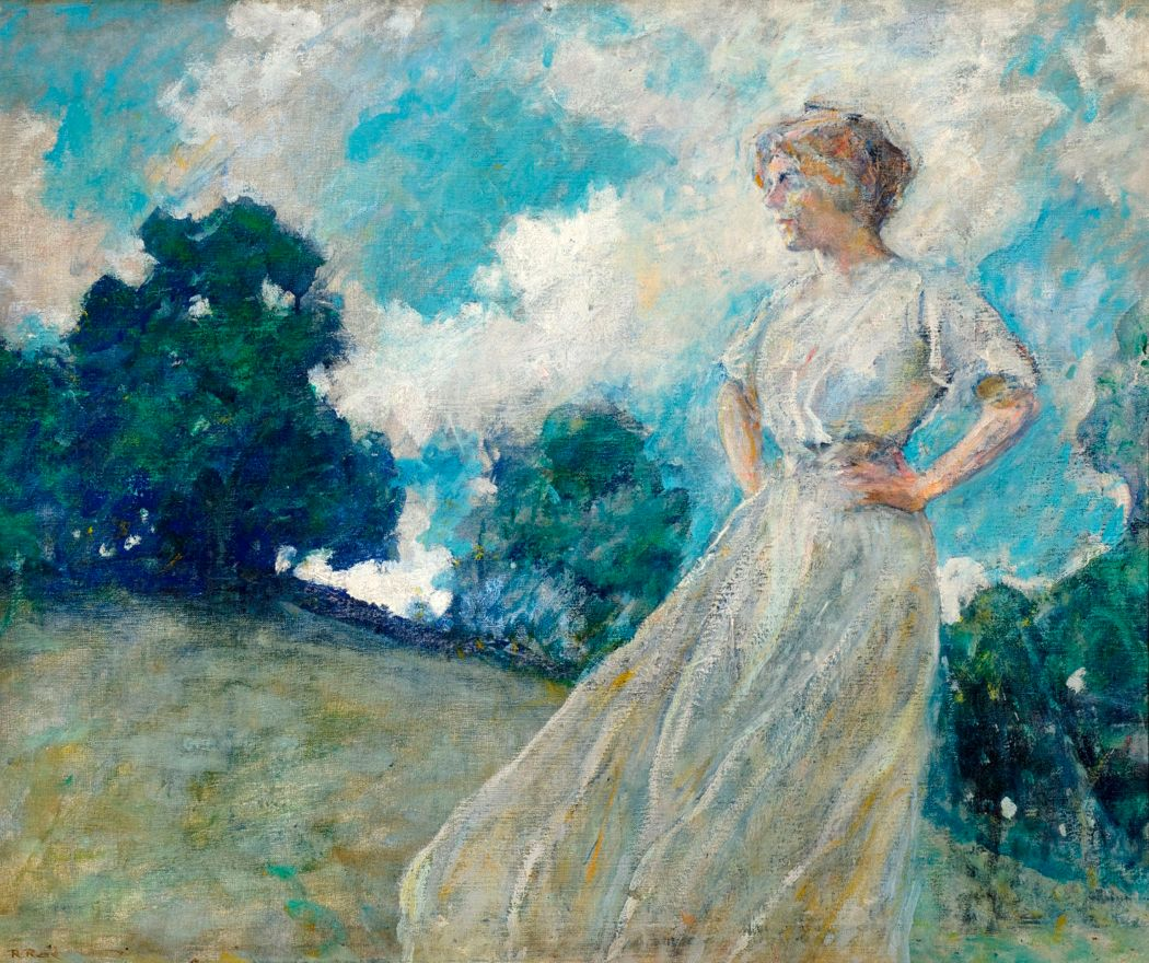 paining of women in white dress in field