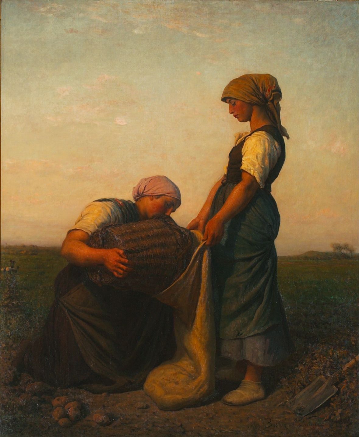 painting of women pouring potatoes in sack