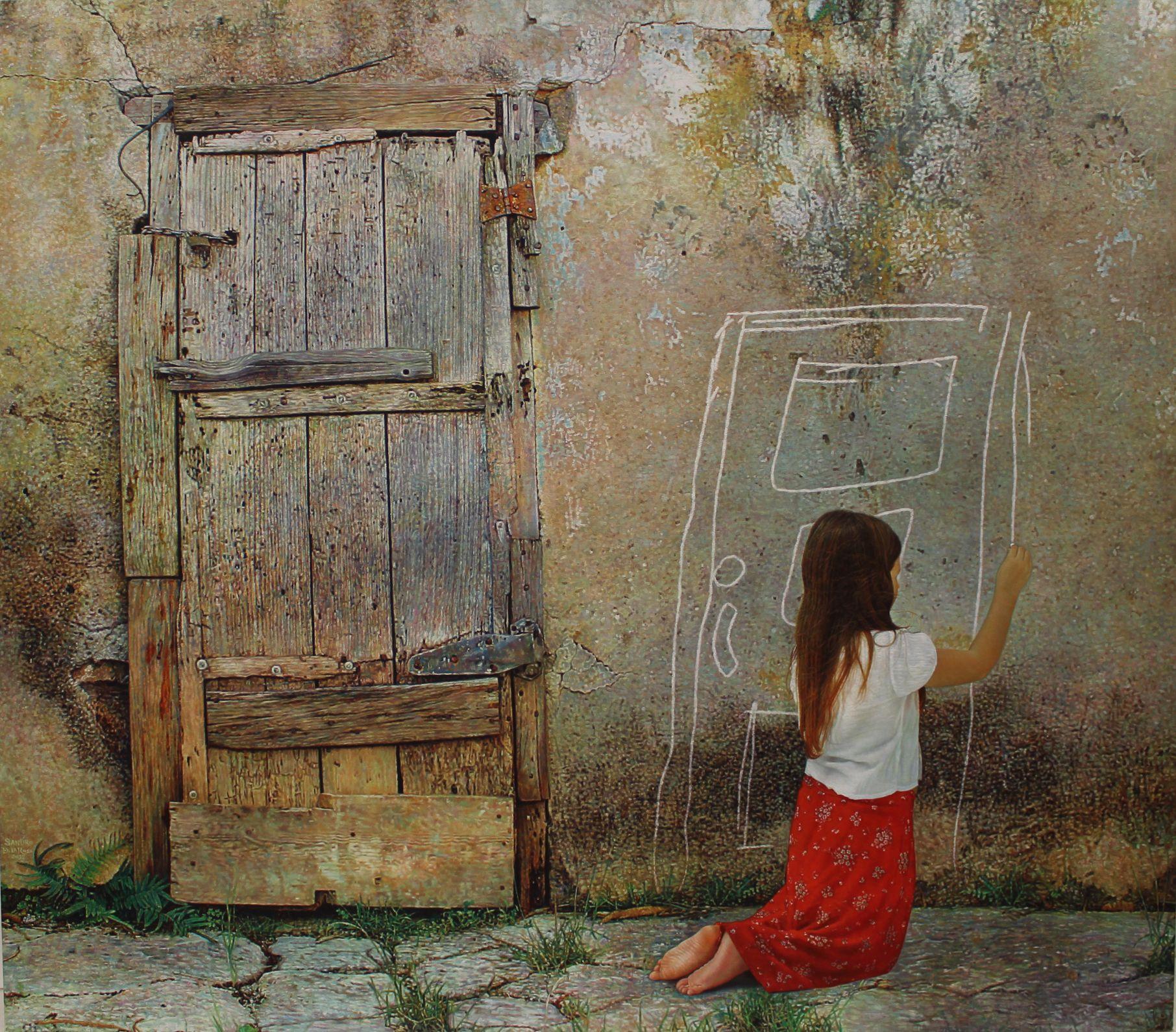girl drawing chalk door besides a real door