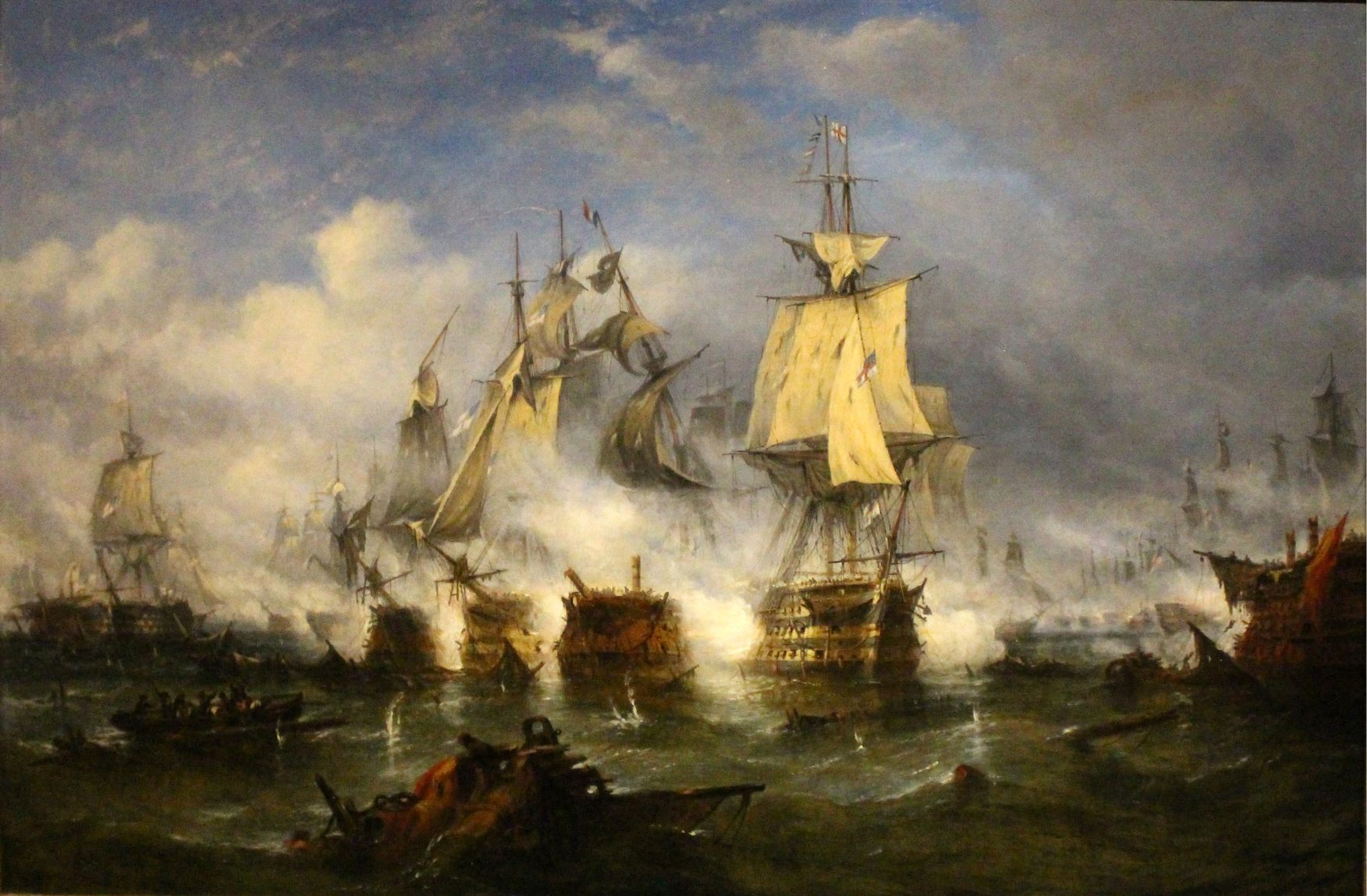 ship battle in ocean painting