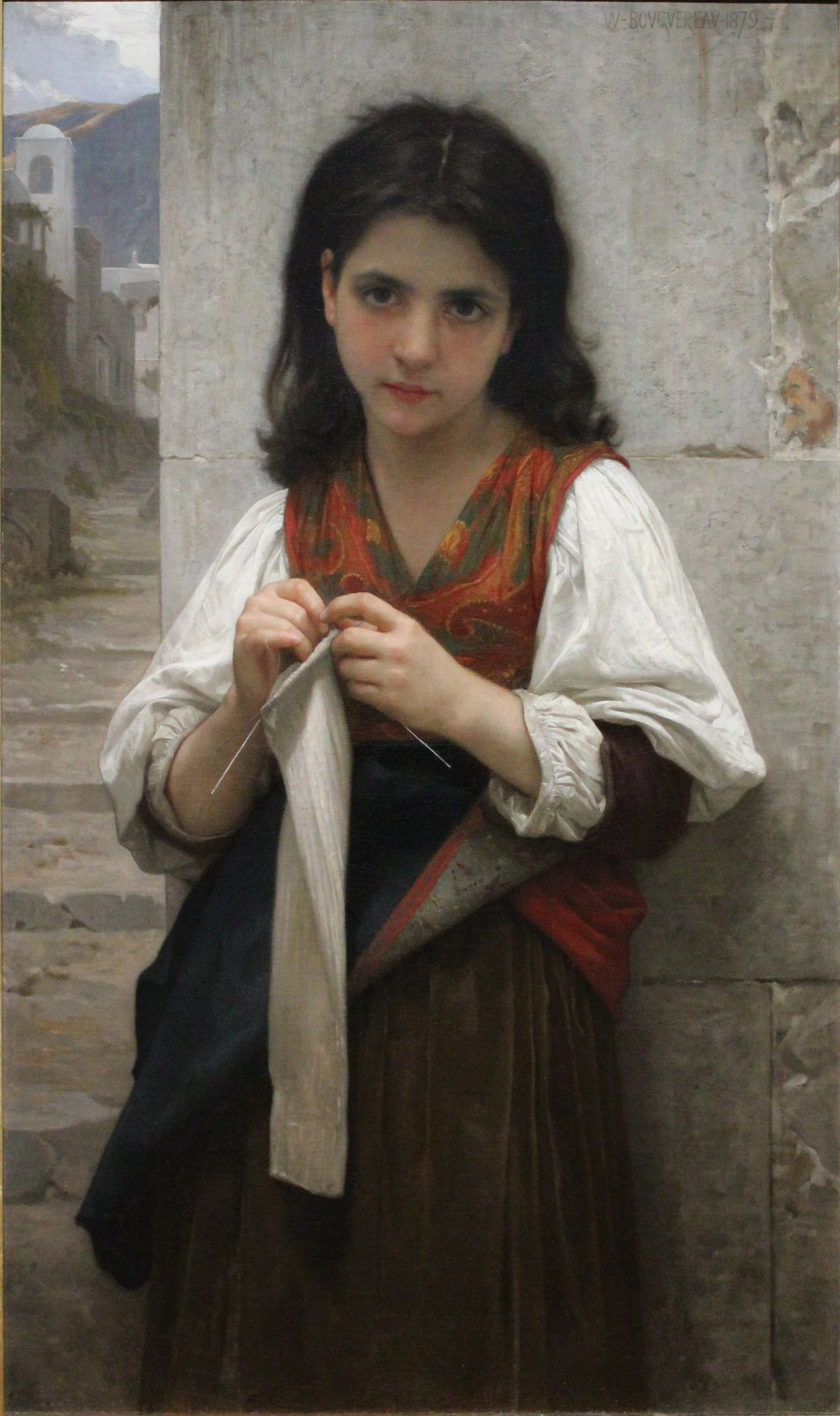 painting of girl knitting