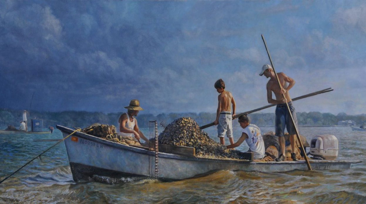 painting of men out at sea fishing