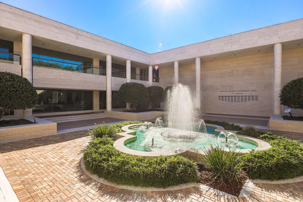 sunny day fountain in courtyard