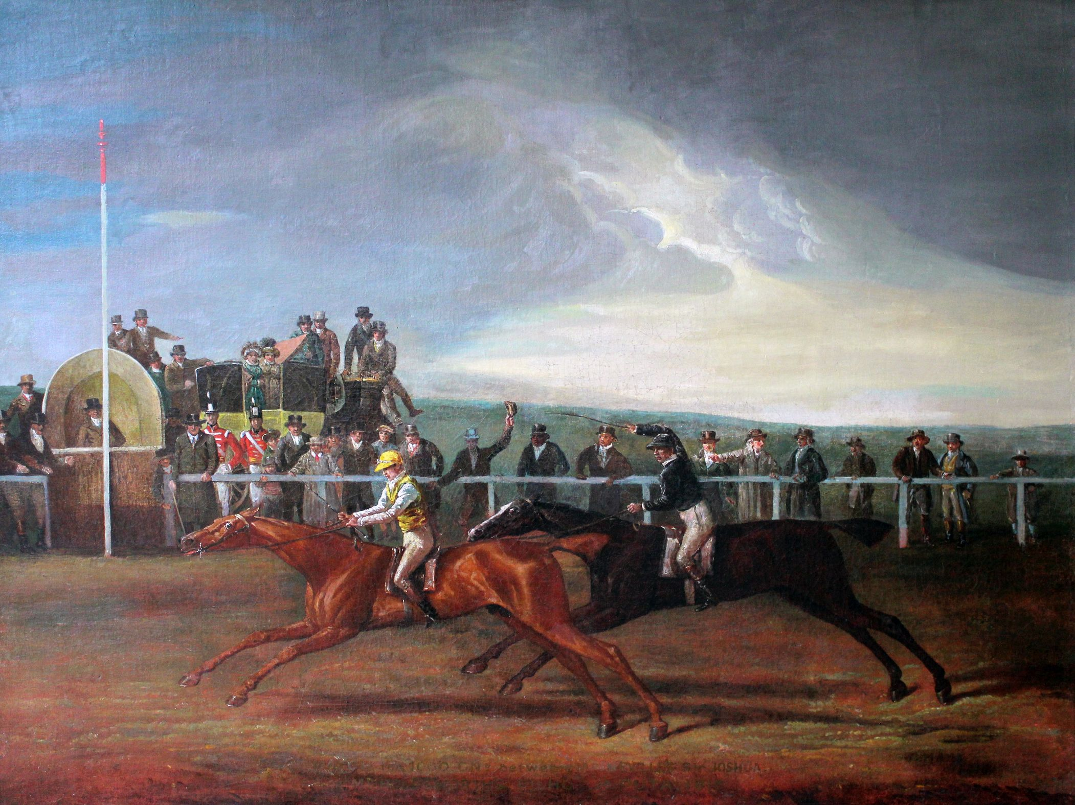 painting of horse racing finish