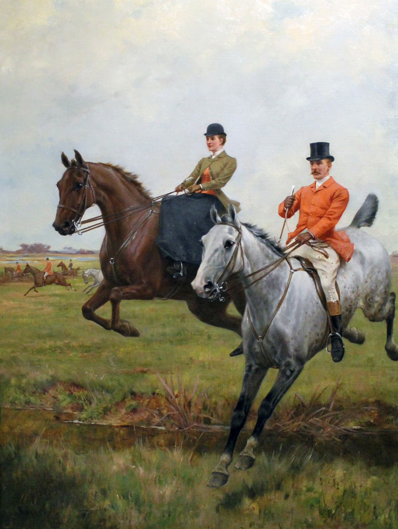 painting of horse jumping