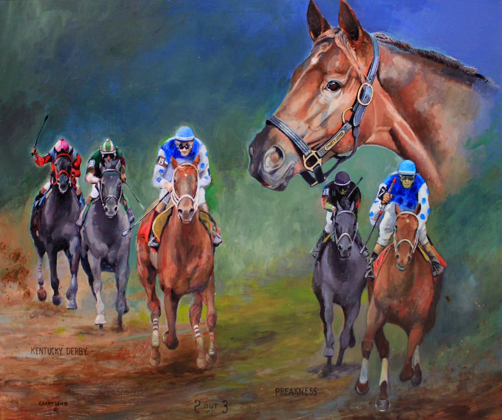 painting of horse racing