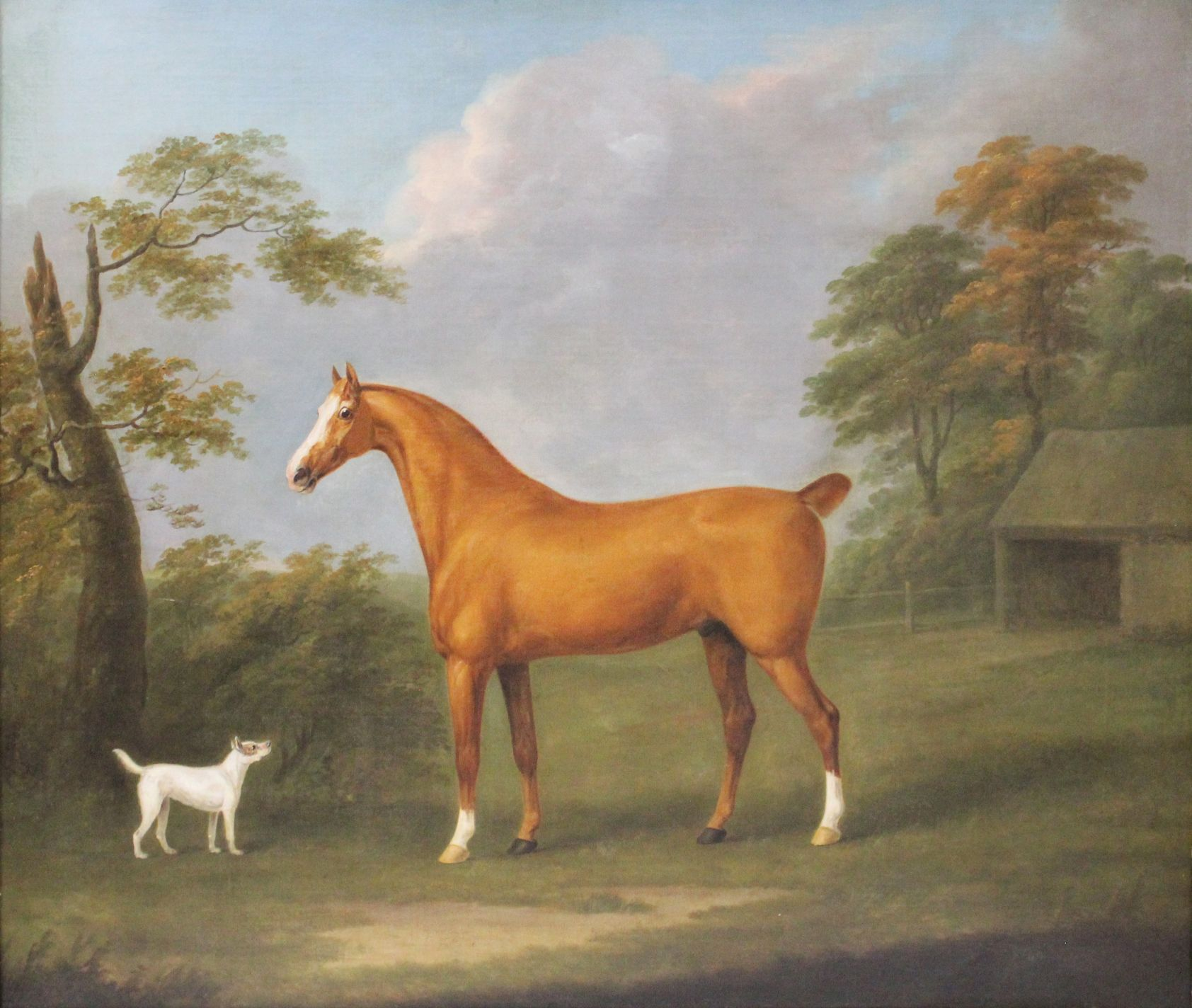 painting of a horse and dog