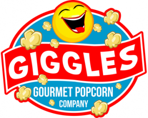 Giggle Gourmet Popcorn logo.